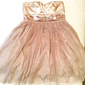 Strapless babydoll dress in champagne